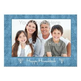 Blue, White Menorahs Hanukkah Photo Card