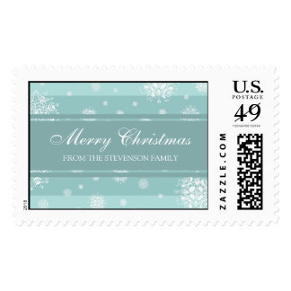 Blue White Merry Christmas Custom Name Stamps