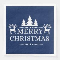 Blue & White Merry Christmas Paper Napkins