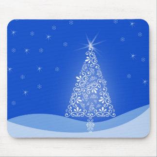Blue White Merry Christmas Tree Stars Night Light Mouse Pad
