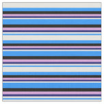 [ Thumbnail: Blue, White, Midnight Blue, Plum & Black Colored Fabric ]