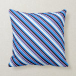 [ Thumbnail: Blue, White, Midnight Blue, Plum & Black Colored Throw Pillow ]