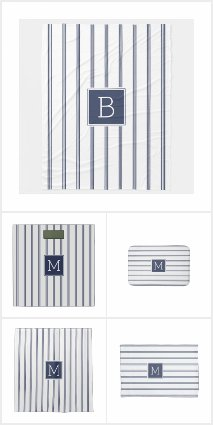 Blue & White Modern Stripes