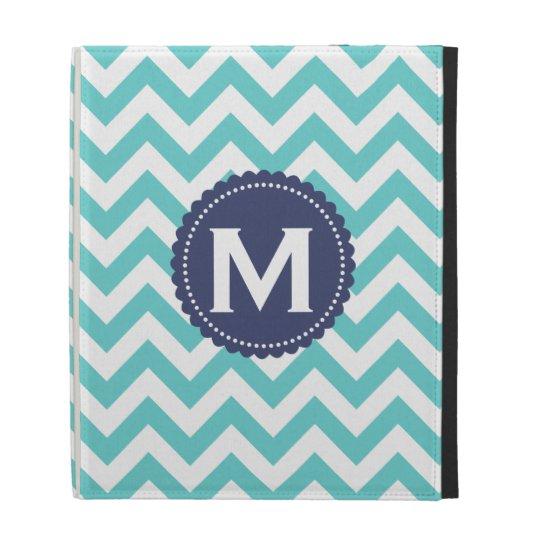 Blue White Monogram Chevron Pattern iPad Folio Cases