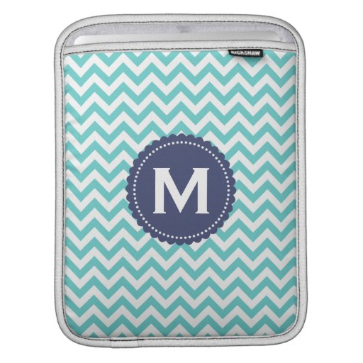 Blue White Monogram Chevron Pattern Sleeves For iPads