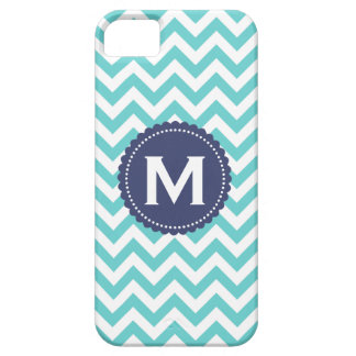Blue White Monogram Chevron Pattern iPhone SE/5/5s Case