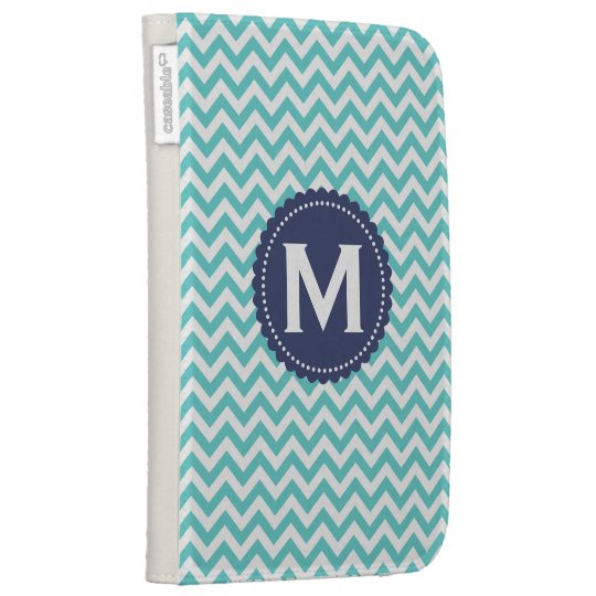 Blue White Monogram Chevron Pattern Kindle Cases