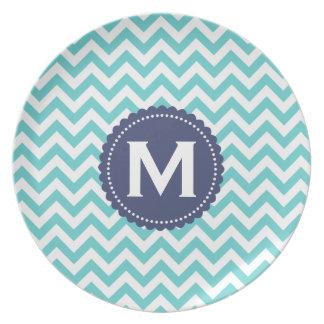 Blue White Monogram Chevron Pattern Melamine Plate