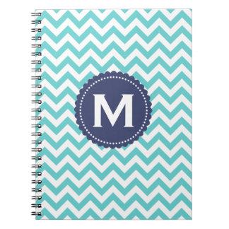 Blue White Monogram Chevron Pattern Notebook