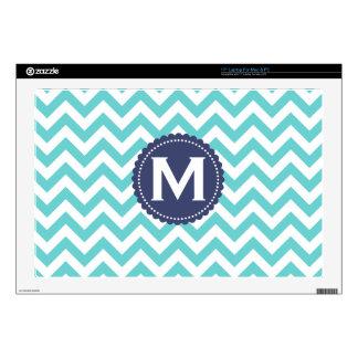 Blue White Monogram Chevron Pattern Skins For Laptops