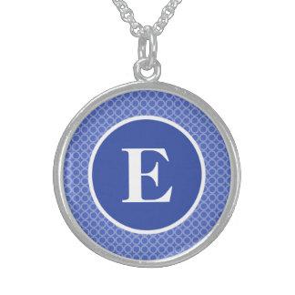 Blue White Monogram Circles Pattern Round Pendant Necklace