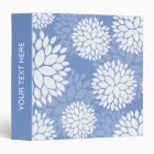 Blue White Monogram Flowers Binder