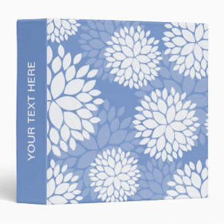 Blue White Monogram Flowers Binder