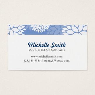 Blue White Monogram Flowers Business Card