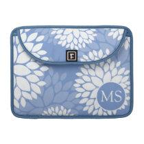 Blue White Monogram Flowers Sleeve For MacBook Pro