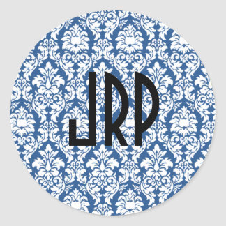 Blue & White Monogrammed Damask Stickers
