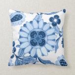 Blue White Moroccan Paisley Modern Leaf Pattern Pillow