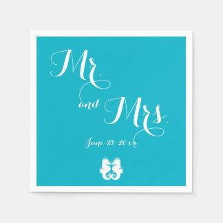 Blue White Mr. and Mrs. Seahorse Wedding Napkins