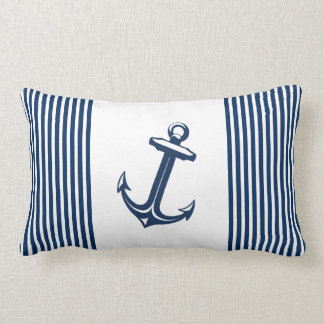 Blue White Nautical Anchor Stripes Pillow