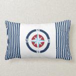 Blue White Nautical Compass Stripes Throw Pillow