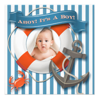 Blue White Nautical Photo Baby Shower Invitation