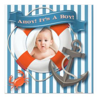 Blue, White Nautical Photo Baby Shower Invitation