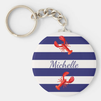 Blue White nautical stripes with red lobsters Keychain