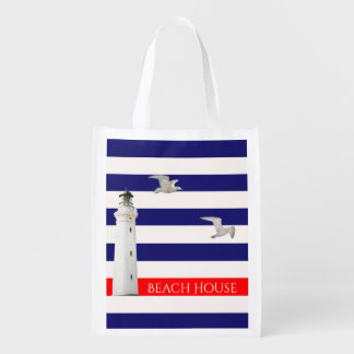 Blue white nautical summer stripes and lighthouse grocery bag