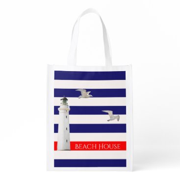 Beach Themed Blue white nautical summer stripes and lighthouse grocery bag
