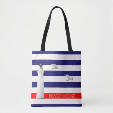 Beach Themed Blue white nautical summer stripes and lighthouse tote bag