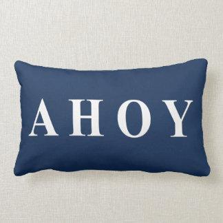 Blue White Nautical Text Stripes Throw Pillow