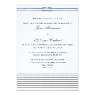 Blue - White Nautical Theme Rope and Knot Wedding Card