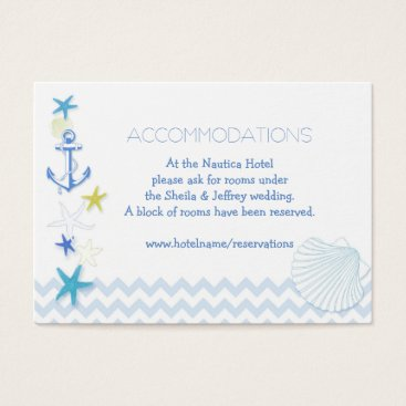 Beach Themed Blue White Nautical Wedding Accommodations Business Card