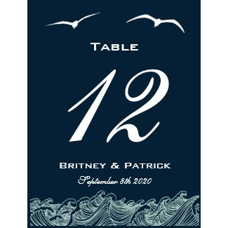 Blue & White Nautical Wedding Table Number Cards zazzle_postcard