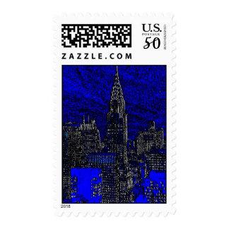 Blue & White New York City Pop Art Postage