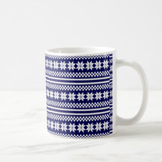 Blue White Norwegian Christmas Sweater Pattern Coffee Mug