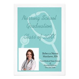 Blue White Nursing School Graduation Announcement