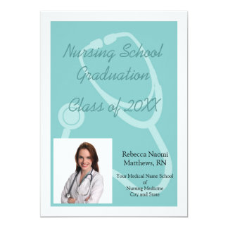 "Blue/White Nursing School Graduation Announcement 5"" X 7"" Invitation Card"