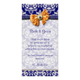 Blue white orange damask elegant card
