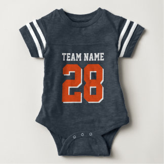 Blue White Orange Football Sports Baby Romper