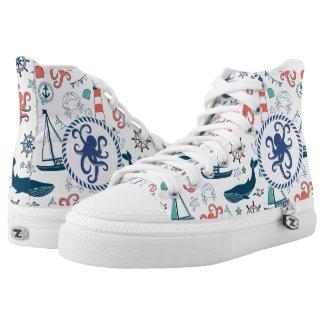 Blue White & Orange Nautical Pattern Printed Shoes