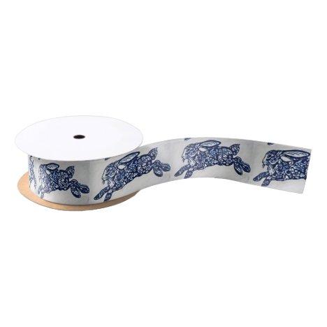 Blue & White Oriental Rabbit Designer Ribbon Spool