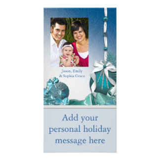 Blue White Ornaments Photo Christmas Cards