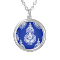 Blue white paisley customizable name silver plated necklace