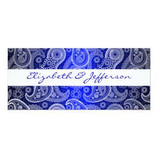 Blue & White Paisley Lace Wedding Invitation