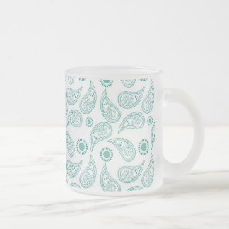 Blue White Paisley Modern Pattern Frosted Glass Coffee Mug