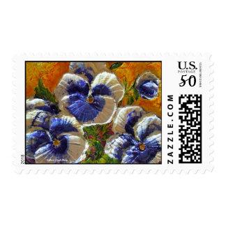 Blue & White Pansies Postage Stamp