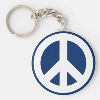 Blue & White Peace Keychain