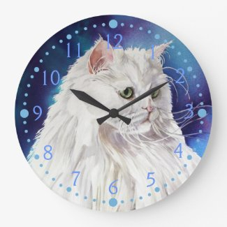 Blue White Persian Cat Portrait Cat Art Wall Clock