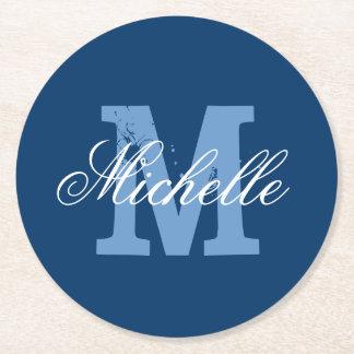 Blue & white personalized monogram paper coasters round paper coaster